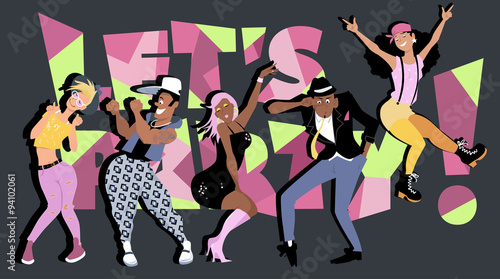 Aluminium Prints Diverse group of fun stylish young people dancing, let's party! on the background, EPS8 vector illustration