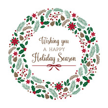 Holiday Wreath With Winter Foliage (vector Illustration)