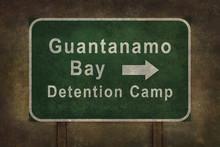 Guantanamo Bay Detention Camp Roadside Sign Illustration With Di