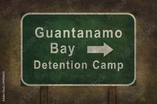 guantanamo bay detention camp roadside sign illustration with di
