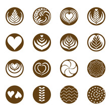 Coffee Latte Art Icon With White Background