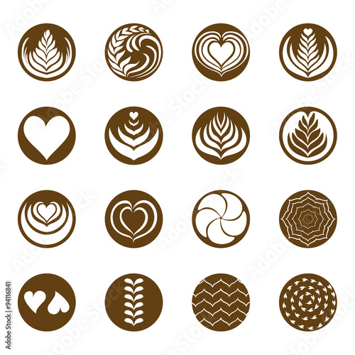 Photographie coffee latte art icon with white background