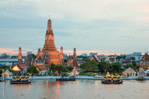 Recess Fitting Bangkok Wat Arun and cruise ship in night ,Bangkok city ,Thailand