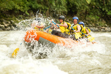 Raft Water White Adventure Team River Sport Whitewater Crowd Of Mixed Tourist Male And Femininity With Guided By Professional Pilot On Whitewater Waterway Rafting In Ecuador Raft Water White Adventur