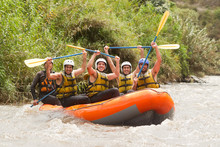 Raft Water White Activity Sports Team People River Young Recreational Union Of Powerful Young Human On A Rafting Boat Patate Creek Ecuador Shoot From Water Level Raft Water White Activity Sports Team