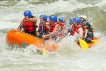 Rafting Team Boat Whitewater White Water Rafting Team In Glowing Sunshine Pastaza River Ecuador Sangay National Park Rafting Team Boat Whitewater Sport Explosive Water White Vacation Flow Rapid Earth