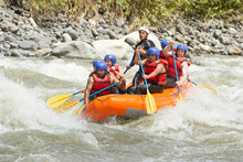 Rafting River White Team Whitewater Sports Expedition Water Fun Extreme White Water Rafting Team In Bright Sunlight Pastaza Flow Ecuador Sangay National Park Rafting River White Team Whitewater Sport