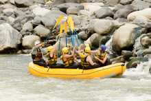 Raft Team Whitewater Activity Fun Group Water Outdoor White Rowing Partnership Of Mixed Pilgrim Men And Femininity With Guided By Specialist Pilot On Whitewater Creek Rafting In Ecuador Raft Team Whi