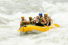 Rafting White Water Rowing Rapids Team Perseverance Whitewater Gathering Of Mixed Trekker Male And Lady With Guided By Professional Pilot On Whitewater Creek Rafting In Ecuador Rafting White Water Ro
