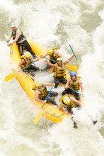Rafts Water White Team Splash Boat Ecuador Sport People Action Group Of Mixed Trekker Men And Women With Guided By Specialist Pilot On Whitewater River Rafting In Ecuador Rafts Water White Team Splas
