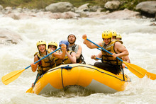 Sport Raft Extrem Water River White Adventure Team Challenge Group Partnership Of Mixed Pioneer Human And Femininity With Guided By Specialist Pilot On Whitewater Waterway Rafting In Ecuador Sport Ra