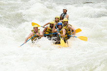 Rafting White Water Sports Extreme Team Whitewater Group River Guide Partnership Of Mixed Mountaineer Men And Lady With Guided By Professional Pilot On Whitewater Waterway Rafting In Ecuador Rafting