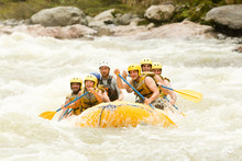 Raft Water White Teamwork Ecuador Fun Woman Rapids People Men Gathering Of Mixed Visitor Men And Women With Guided By Professional Pilot On Whitewater River Rafting In Ecuador Raft Water White Teamwo