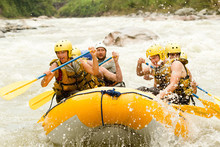 Raft Water White Team Sport Activity Whitewater Extreme Group Rapids Rafting Crowd Of Mixed Pilgrim Male And Femininity With Guided By Specialist Pilot On Whitewater Creek Rafting In Ecuador Raft Wat
