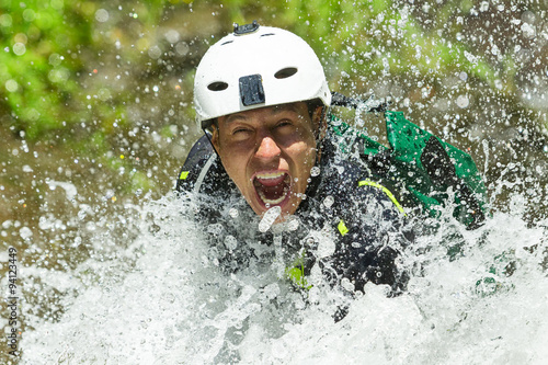 Fotografie, Obraz  Canyoning Waterfall Descent