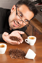 Coffee Bartender Examining Fried Beans Color Colour Espresso Brown Classic White Nails Hand Coffee Industry Face Life People Portrait Posing Human Labor Man Person Profile Studio Ceramic Male Industr