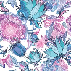 Fototapeta Elegant Romantic Vector Floral Pattern