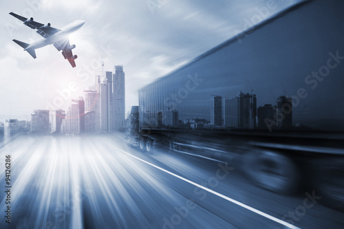 Fotografía  container truck , freight cargo plane in transport and import-export commercial