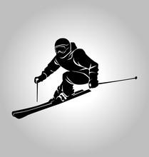 Vector Silhouette Of Skier