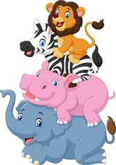 Obraz na płótnie Canvas Cartoon funny animal standing on top of each other