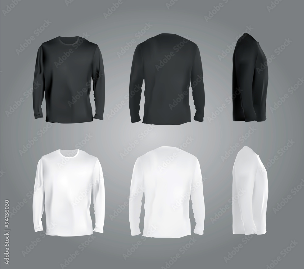 Fototapeta Long sleeved t-shirt templates collection, front, back, side view. Black and white colors blank shirts, vector eps10 realistic illustration.
