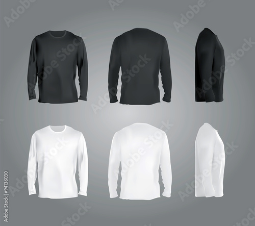 фотография  Long sleeved t-shirt templates collection, front, back, side view