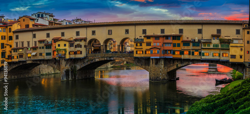 Beautiful sunset view of bridge Ponte Vecchio, Florence, Italy - 94138819