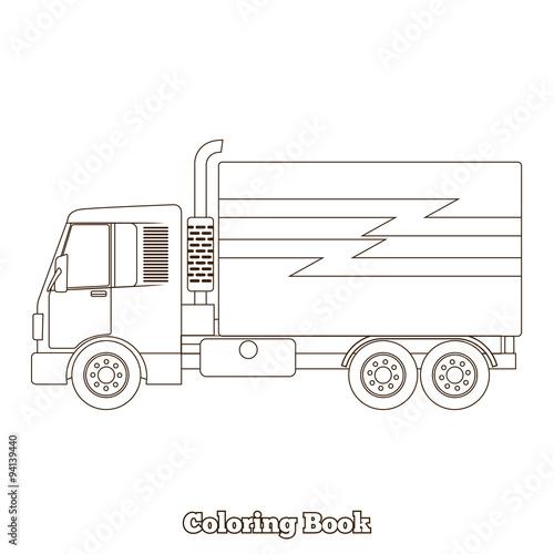 Coloring book truck vector illustration – kaufen Sie diese ...