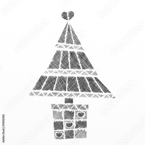 Foto auf Leinwand Klassische Abstraktion albero di natale a matita