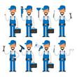 Repairman in different poses