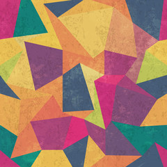 Triangle pattern. Colorful, grunge and seamless. Grunge effects