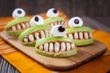 Spooky Halloween Edible Apple Monsters Healthy Natural Dessert