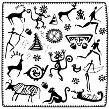 Set Elements African Petroglyph Art