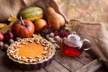 Traditional Homemade Pumpkin Tart Pie Healthy Sweet Dessert
