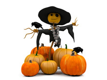 3D Image Smiling Scarecrow And Pile Of Pumpkins On White Background