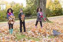 Childs On The Leaf Season. The Autumn Season