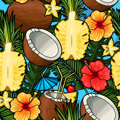 Tapeta Seamless tropical cocktail