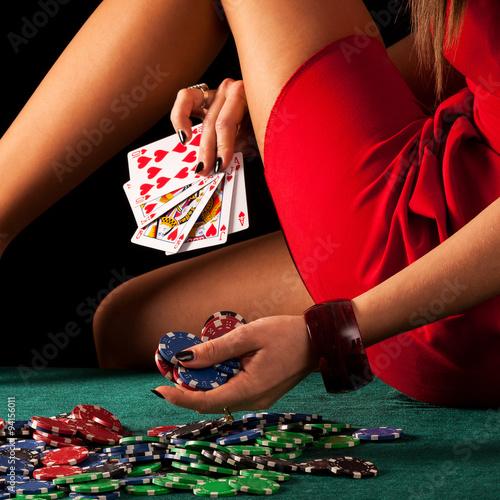 Sexy gambling woman Wall mural