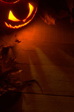 Fearful Halloween Red Shadows Background With Lighting Jack O Lantern In The Corner