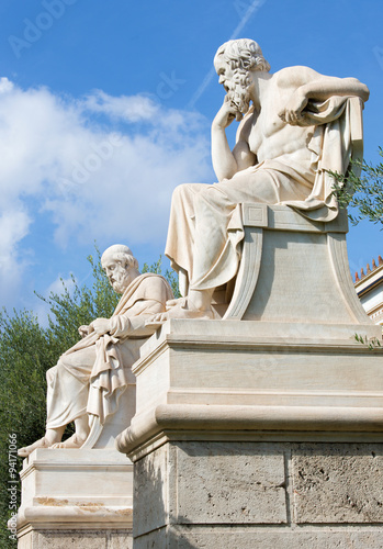 Papiers peints Commemoratif Athens - The statue of Plato and Socrates in front of National Academy