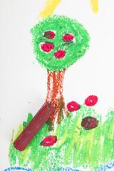 oil pastels drawing: apple tree