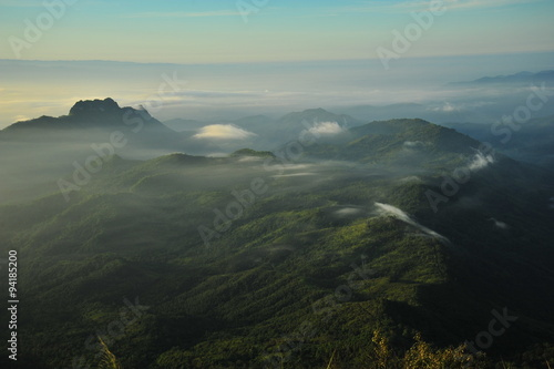 Foto op Canvas Olijf Mountain Landscape at Sunrise