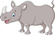 Cartoon Happy Rhino Standing I...