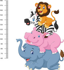 Fototapeta na wymiar Height scale with funny Africa animal collection set