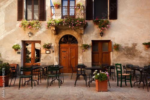 Retro romantic restaurant, cafe in a small Italian town Canvas Print