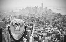 Black And White Toned Binoculars Over Manhattan, NYC.