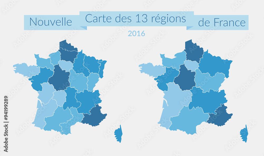 Fototapety, obrazy: Nouvelle_Carte_13_Régions_France_2016