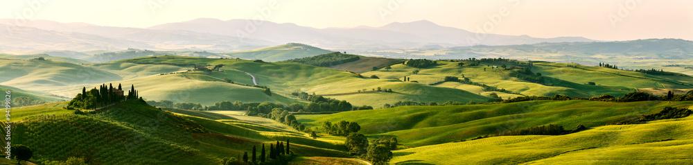 Fototapeta Beautiful and miraculous colors of green spring panorama landsca