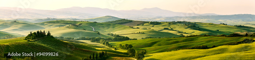 Poster Panoramafoto s Beautiful and miraculous colors of green spring panorama landsca