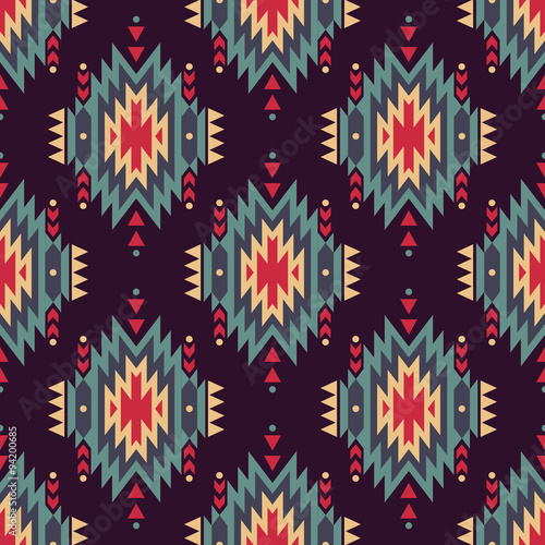 Cotton fabric Vector seamless decorative ethnic pattern. American indian motifs. Background with aztec tribal ornament.